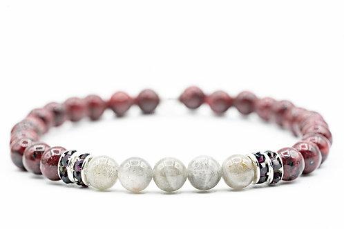 Bracelet Nitescence Labradorite & Jade rouge