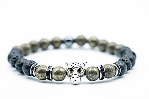Bracelet Puma Pyrite et pierre de lave