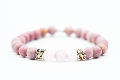 Bracelet  Nitescence Rhodonite et Quartz Rose
