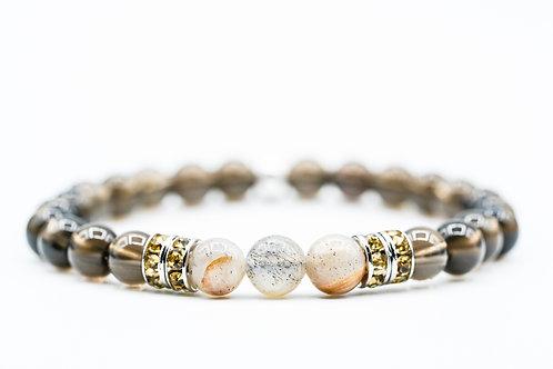 Bracelet Nitescence Quartz fumé et pierre du soleil