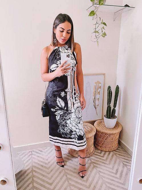 Vestido Midi Floral & Listras