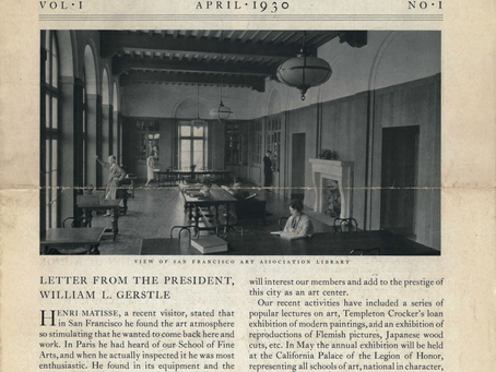 1930 SFAI Newsletter, Matisse quote, the Library