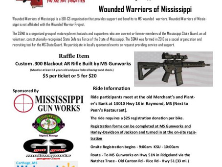 ROLLIN' FOR OUR WARRIORS   Benefit Ride for Wounded Warriors of Mississippi - June 22, 2019