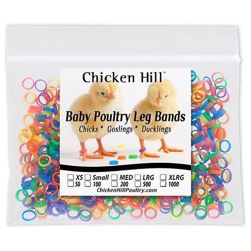 Baby Poultry Leg Bands Mixed Colors 200 and 500 Per Pack