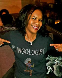 Lucinda in Blingologist Lady shirt.jpg