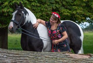 black and white horse, red flower.jpg