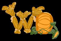 Pumpkin, wheat, monogram, logo