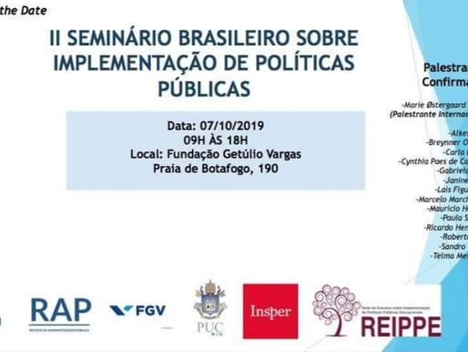 Inscrições: II Seminário Brasileiro sobre implementação de políticas públicas.