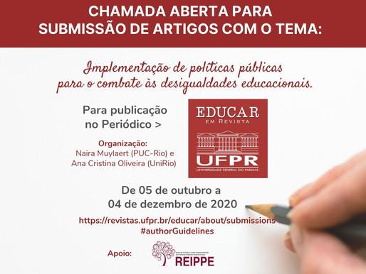 A REIPPE divulga: Chamada aberta para submissão de artigos no Educar em Revista.
