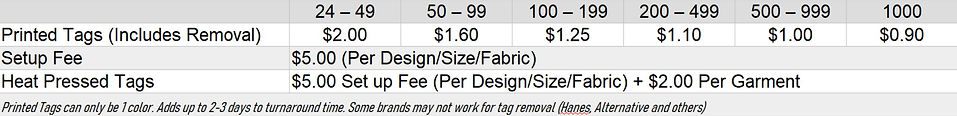 Printed Tag Pricing