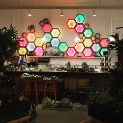 Colored lights and hexagon shelves = #holidayfun  Stop by and check out our fun and unique holiday o