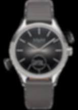 M&M Smartwatch Unisex 38mm Lederband grau Edelstahl matt poliert