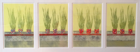 Memories of Mexico, lino print and collage