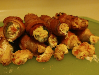 Bacon wrapped pepperoni jalapeno poppers. (On the BBQ)