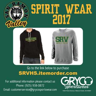 San Ramon Valley High School Spirit Wear Flyer