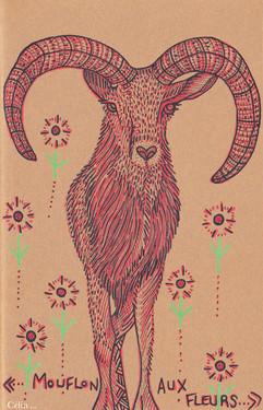 Mouflon aux fleurs