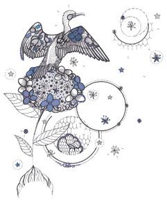Hortensia céleste et son cormoran