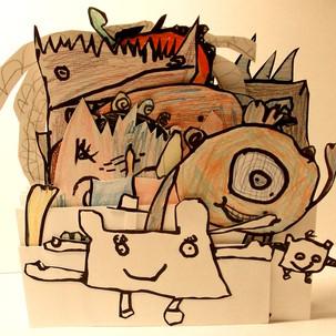 Sculptures en papier, monstres