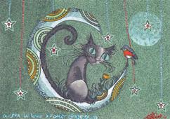 Sur la lune du chat joyeux