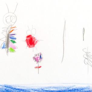 Mobiles et dessins, insectes