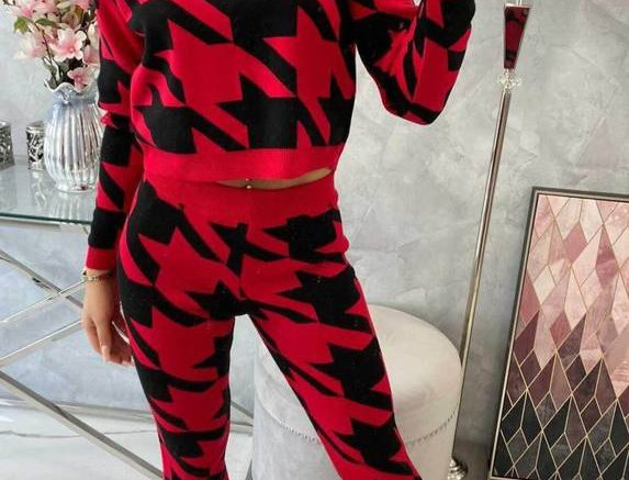 Taz Hounds tooth Cropped Tracksuit Set