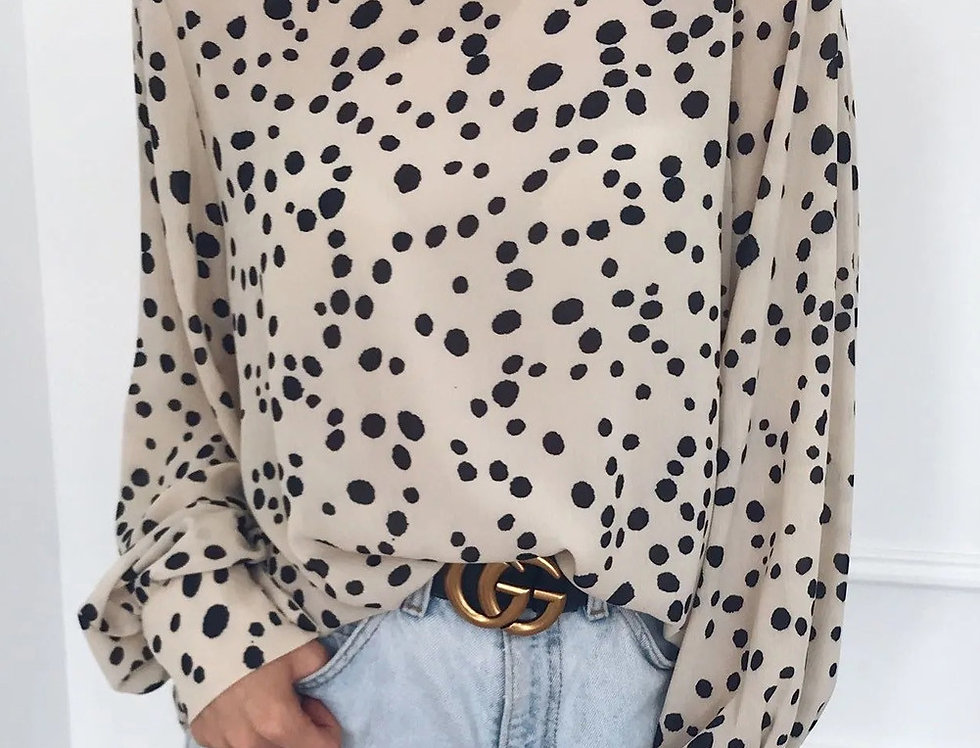 Minnie Leopard Print High Neck Blouse