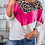Thumbnail: Riona Block Colour Contrasted Leopard Print  Off The Shoulder Top