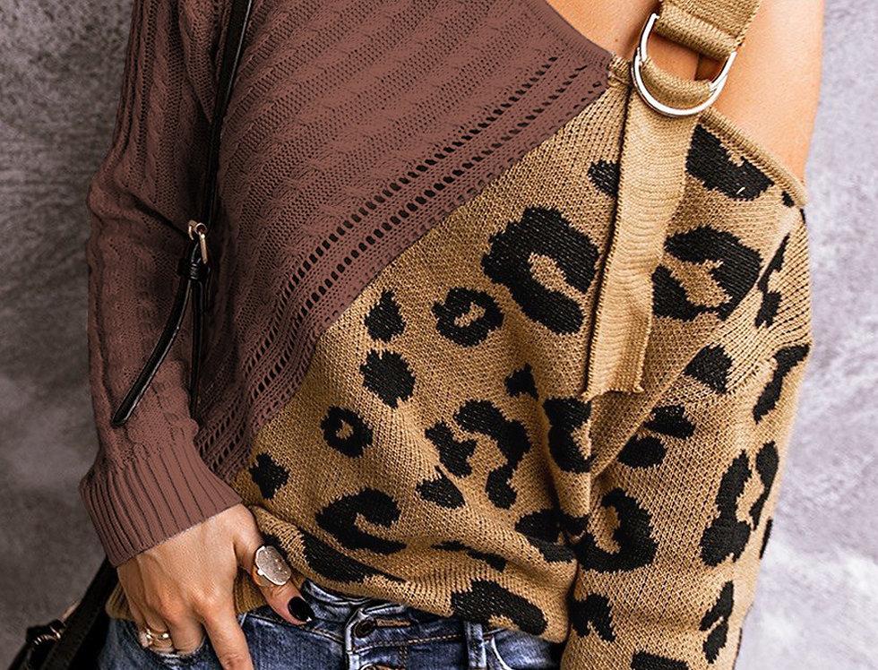 Nat Cold Shoulder Buckle Strap Leopard Knitted Sweater