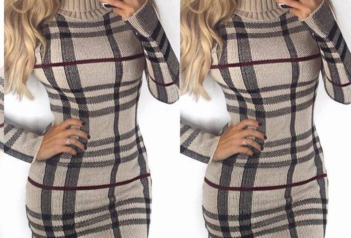 Chantelle Tartan Knitted Polo Jumper Dress