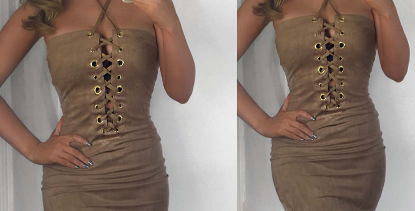 Toya Nude Suede Lace Up Bodycon Dress