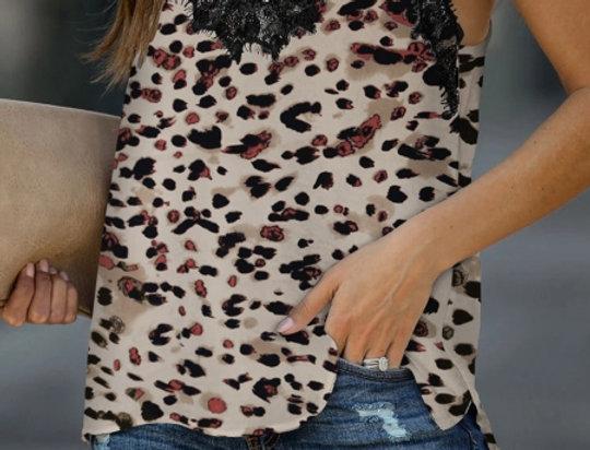 Reggie Leopard Print Print Lace Trim Cami Vest Top