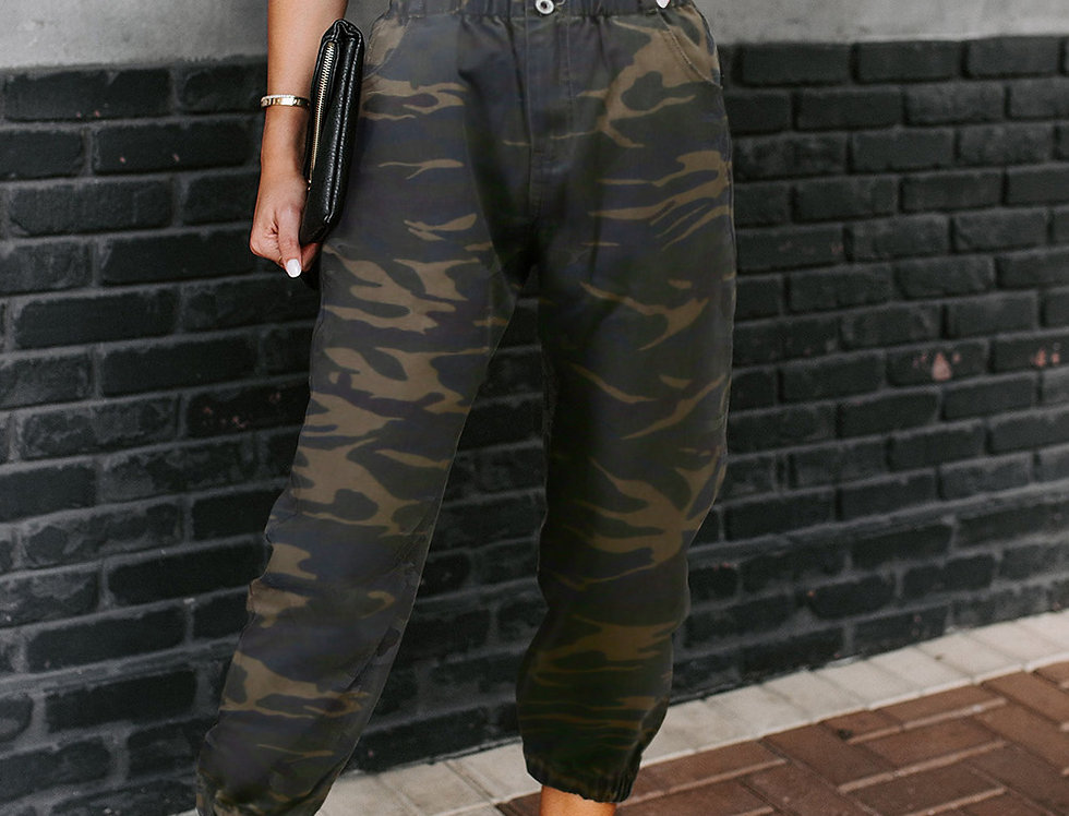 Kim Camo Print Amry Joggers Trousers