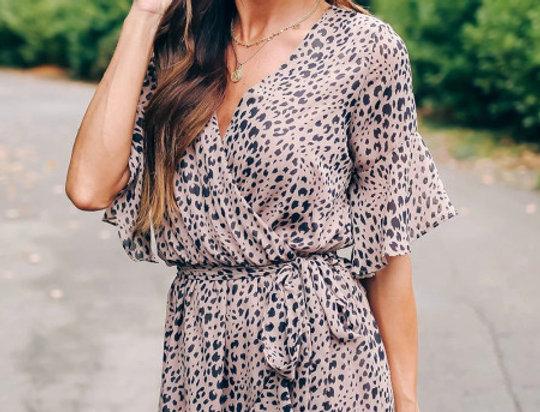 Teegan Lilac  Leopard Print Belted Wrap Dress