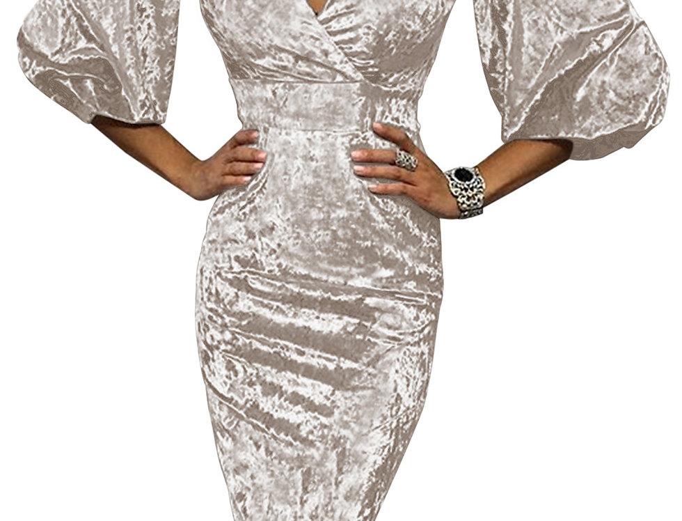 Mercy Classic Plunge Velvet Midi Dress