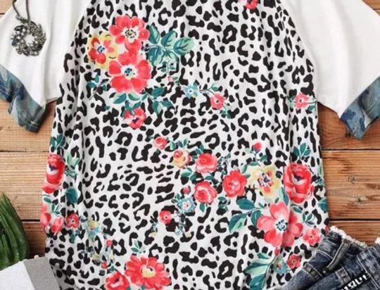 Lauren Grey Floral Leopard Print T-shirt