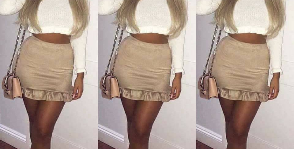 Lois Faux Suede Frill Mini Skirt