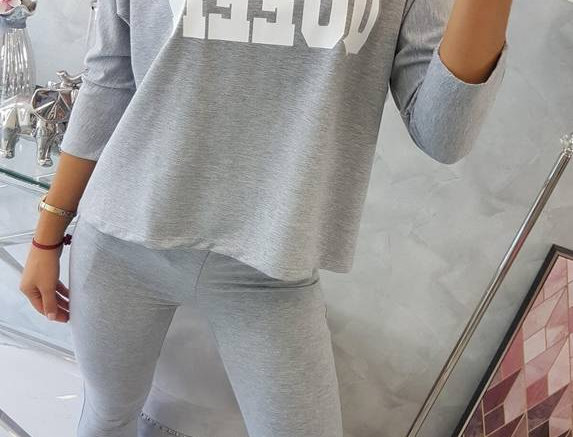 Queen Grey Slogan Lounge Tracksuit Set