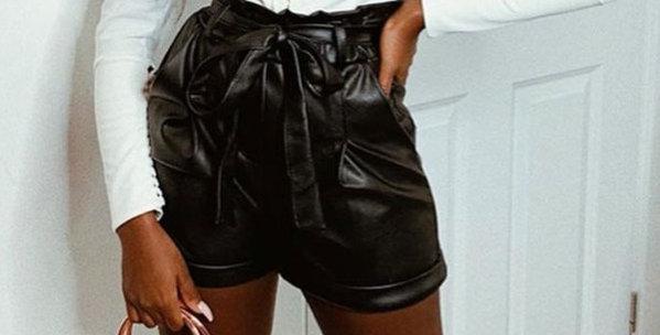 Rita Extra High Waisted PU Paper Bag Shorts