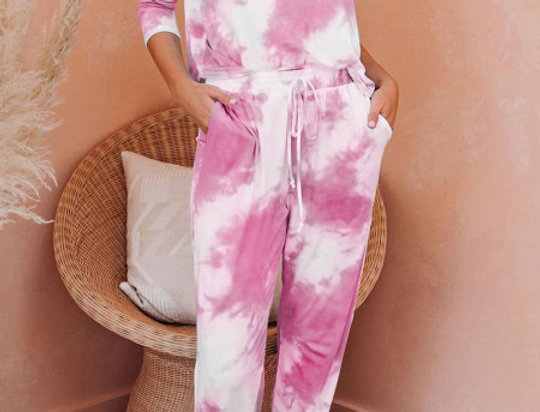 Robyn  Baby Pink Tie Dye Lounge Tracksuit Set