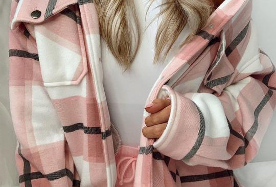 Gabby Checked Button  Shacket Jacket