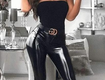 Black PU Leather Look Wet Look Leggings