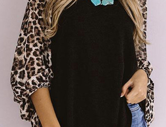 Janice Batwing Leopard Print Contrasted Top