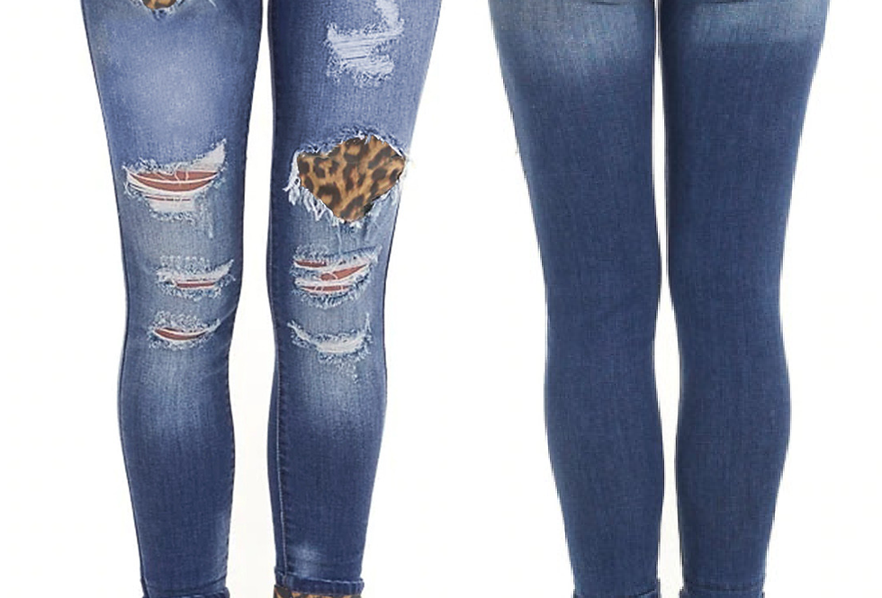 Narla Leopard Patch Detail  Distressed Jeans