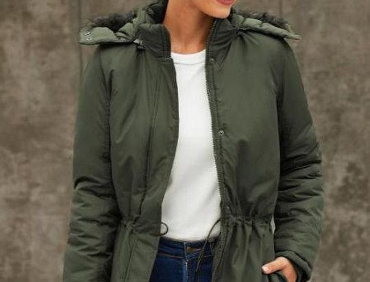 Hatti Khaki Fuax Fur Hooded Waterproof Parker Coat