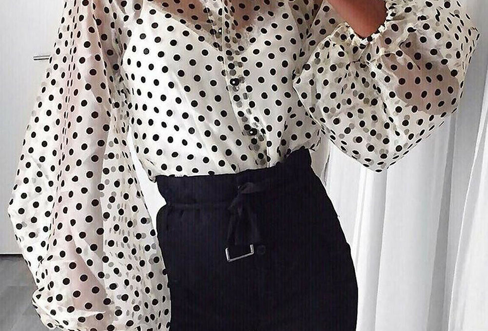 Mandi Oversized Sleeve Polka Dot Blouse
