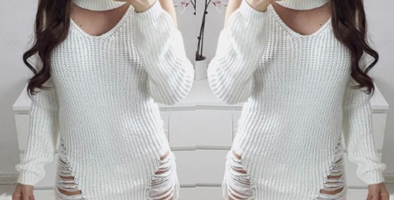Nadine Distressed Choker Knitted Dress Top