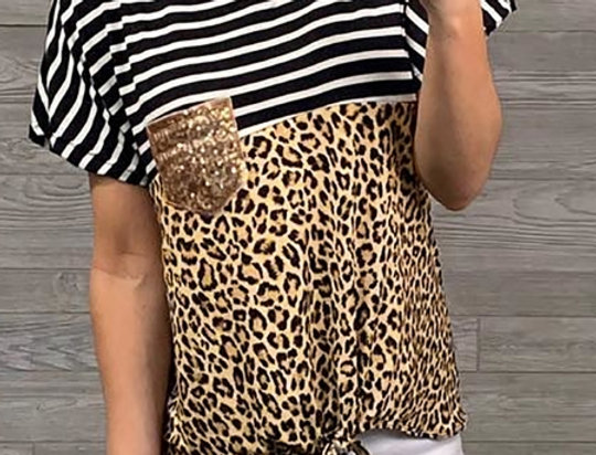 Tera Contrasted Striped Leopard T-shirt
