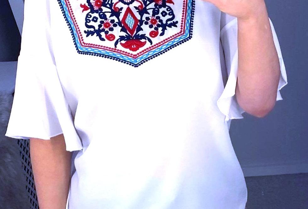 Sasha Embroidered Frill Sleeve Top