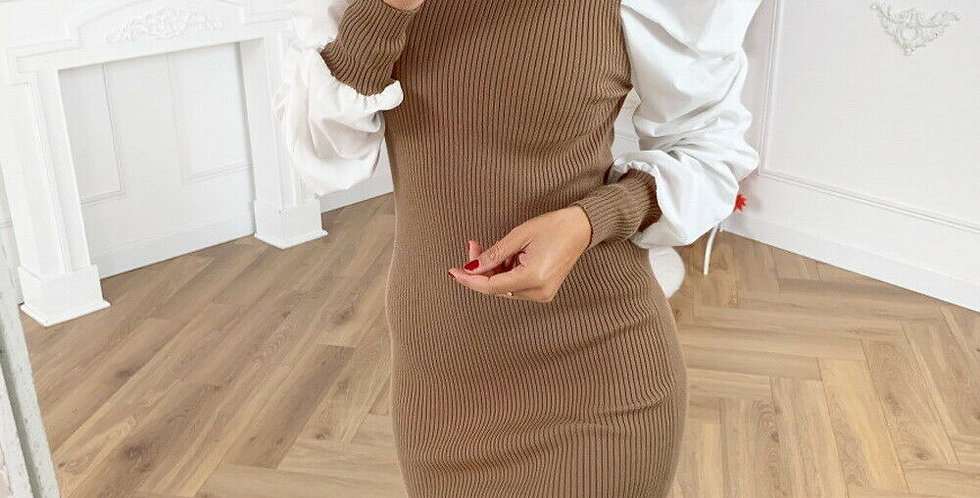 Trya Puff Sleeved Cntrasted Ribbed Bodycon Dress
