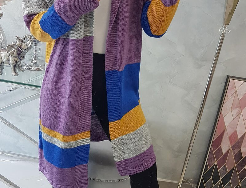 Nicole Striped Patchwork Longline Knitted Cardigan